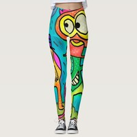 Funny abstract doodles illustration leggings