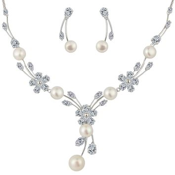 Women's Cubic Zirconia Simulated Pearl Flower Bridal Necklace Earrings Jewelry Set Ivory Color