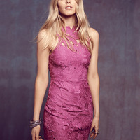 Purple Sleeveless Bare Back Mini Dress with Floral Cut-Out Detail