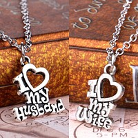Valentines Gift I Love My Wife Husband Heart Letters Alphabet Pendant Necklace For Women Men Jewelry Lover Couple Collier Gifts