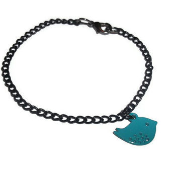 Black Chain Bracelet, Dainty Teal Bird Jewelry