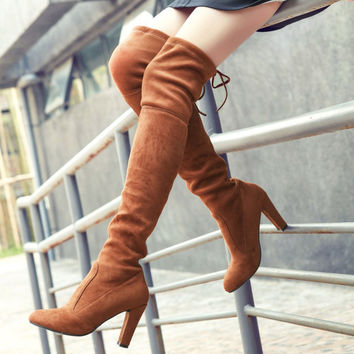 Suede Round Toe Back Strap High Block Heel Over Knee Boots