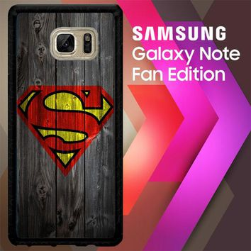 Wood Superman Logo 1215 F0249 Samsung Galaxy Note FE Fan Edition Case