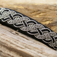 Black Swedish Lapland Bracelet, Reindeer Leather, Pewter and Silk Cord Braid