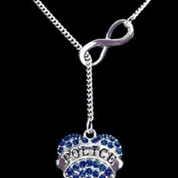 Blue Crystal Police Heart Gift For Officer Mom Wife Infinity Lariat Necklace