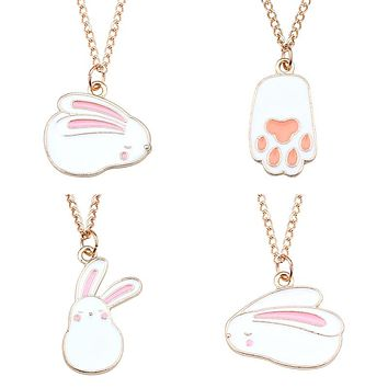 Cute Cartoon White Rabbit Pendant Necklace Women Gold Enamel Tiny Bunny Necklaces Pendants Animal Jewelry For Kids Gift Collares