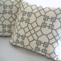 Geometric throw pillow cover,  Grey Light Ivory 20 x 20, throw pillows, accent pillow, toss pillow