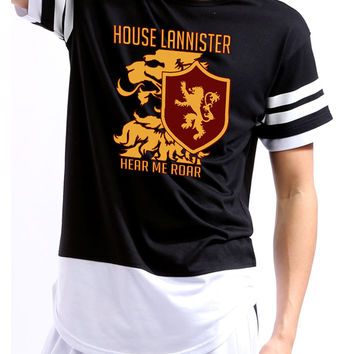 House Lannister hear me roar men Colorblock shortsleeve shirt