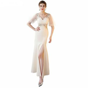 Elegant V-Neck Evening Dress Gown Satin With Appliques Evening Dresses Mermaid Half Sleeve Party Dress
