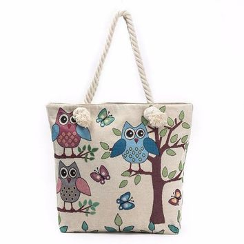 Perfect Tote! Carry Your Anything! Everyday Use When Your Purse Isn't Enough     Multi Owls/Tree
