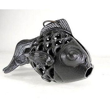 Cast Iron Fish Candle Holder Goldfish Koi Lamp Lantern Hanging votive Black