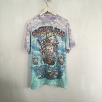 Grateful Dead shirt 90s vintage t shirt band t-shirts tie dye tee 1993 concert t-shirt rock tees soft grunge pirate ship fools band shirt xl