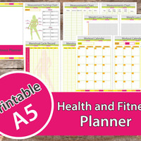 Fitness  Planner, fitness journal , A5 fitness planner, weight loss journal, fitness log, weight loss planner  – INSTANT DOWNLOAD, PDF