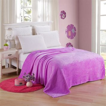 Flannel Coral Fleece Blanket Acrylic Solid Violet Color Bedspread Sheet Kids Children Baby Twin Full Queen King Plaid on The Bed