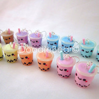 Bubble Tea Boba Drink Kawaii Polymer Clay Earrings by DoodieBear