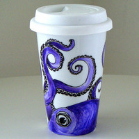 Octopus Ceramic Travel Mug Eco Friendly Purple Kraken by sewZinski