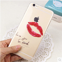 Sexy Red Lip Transparent Soft Case Cover For Apple iPhone 6 6S+Nice Gift Box !