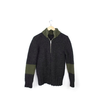 Dolce & Gabbana wool knit zip up cardigan sweater / charcoal gray green / made in italy / cafe racer style / mens small 34 / 48