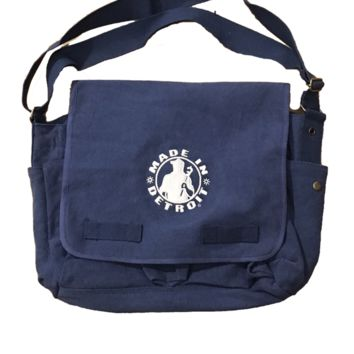 Made in Detroit Vintage Washed Navy Canvas Messenger Bag