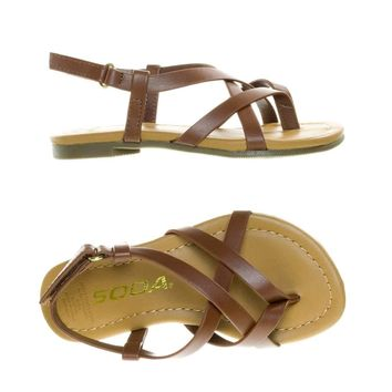 SpicaIIs Children Girl's Gladiator Strappy Flat Sandal w Hook & Loop