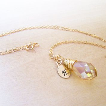 Gold Filled Champagne Swarovski Crystal Briolette Hand Stamped Initial Personalized Bridesmaid Necklace / Gift for Her
