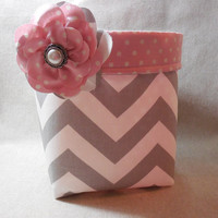 Gray and White Chevron Fabric Basket With Rose Colored Polka Dot Fabric Flower and Detachable Fabric Flower Pin