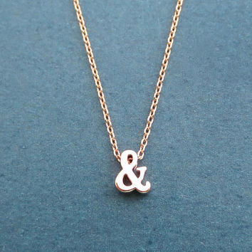 Ampersand, Rose gold, Necklace, Initial, Necklace, Birthday, Lovers, Best friends, Sister, Gift, Jewelry