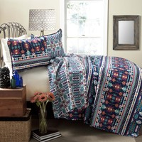 Lush Decor Navajo 3-Piece Quilt Set, Full/Queen, Navy/Turquoise