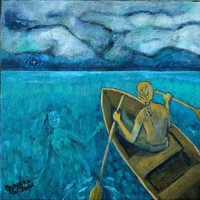 Rowing with the Lady of the Lake - Acrylic Painting - Blue Indie Art