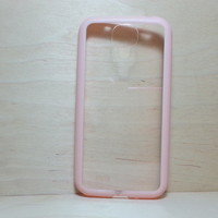 For Samsung Galaxy S4 Light Pink Silicone Bumper and Clear Hard Plastic Case