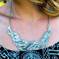 Fine Feather Silver Leaf Necklace