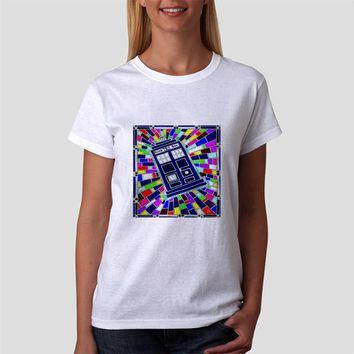 Classic Women Tshirt Doctor Who Tardis Box Stained Glass Art