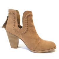 Universal Suede Booties In Camel Brown