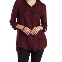 Wine Combo Plaid Button Up Shirt by Charlotte Russe