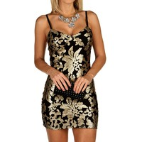 Sale-gold Sequin Floral Party Dress