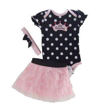 Retail Baby Clothing Set Baby Girl Clothes 3 pcs Sets Romper +Tutu Skirt + Headband 3pcs Sets Polka-dot Princess Tutu Dress
