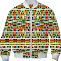 Ethnic Stripes Print Bomber Jacket