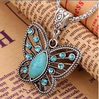 SNAZZY Turquoise Butterfly Pendant Necklace