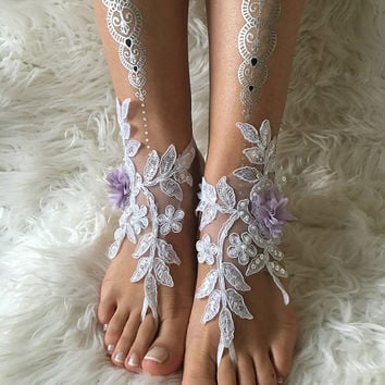 White lilac flowers lace barefoot sandals, FREE SHIP,  beach wedding barefoot sandals, lace shoes, wedding shoe, bridesmaid gift, beach