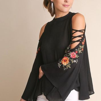 Floral Embroidered Cut Out Bell Sleeve Top - Black