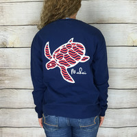 True Navy Pocketed Wave Print