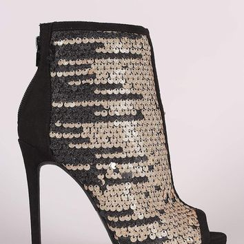 Lounge Suede Glitter Sequin Stiletto Ankle Boots