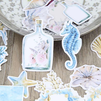 33pcs Self-made Sea Shell Bottle Sea Horse Scrapbooking Stickers Decorative Sticker DIY Craft Photo Albums Decals Diary Deco