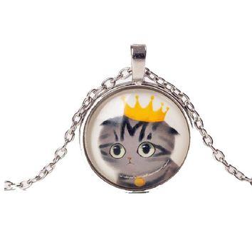 Cute Cat Glass Cabochon Chain Necklace For Women