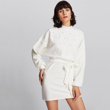 Pearl Embellished Dolman Batwing Sleeve Stand Collar Dress