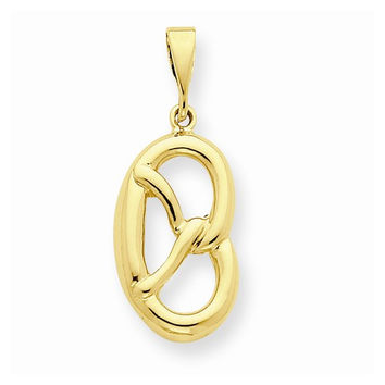 Polished Solid 14k Yellow Gold Pretzel Pendant