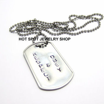 BDSM Tag Necklace, Hand Stamped Dog Tag, Stainless Steel, Respect and Obey, Dominant Submissive Jewelry