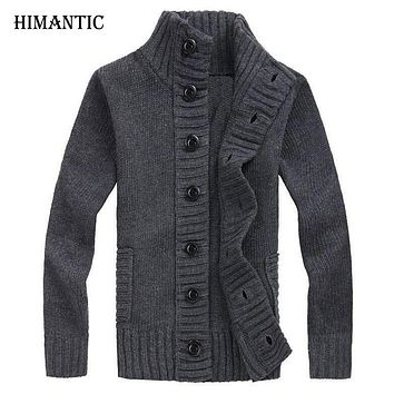 New Winter Spring Sweater Men Thick Cotton Full Sleeves Mandarin Collar Solid Cardigans Men Outwear Button Sweaters