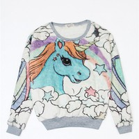 Winter Fashion Women Clothing Casual O-Neck Unicorn  Pullovers Full Sleeves Fleece Women Clothes