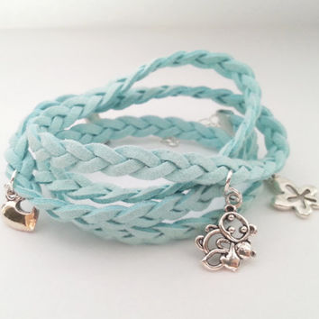 Mint suede bracelet with metal elements gift for her charms custom bracelet summer jewelry